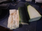 Inside of the giant zucchini -- packing material, basically