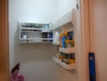Freezer door attached, rearranging contents